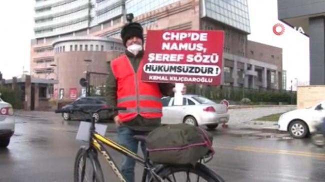 İSPARK'tan çıkartılan işçiden CHP Genel Merkezi önünde bisikletli eylem