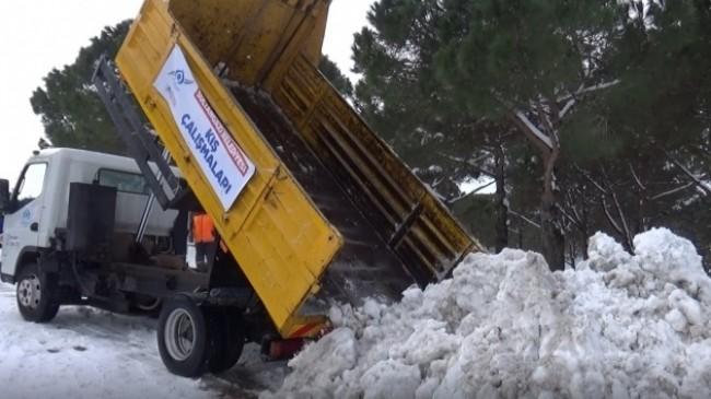 Ekipler tarafından toplanan kamyon kamyon kar Alibeyköy Barajı çevresine dökülüyor