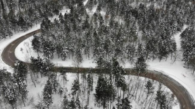Kar yağışı sonrası Kazdağları havadan böyle görüntülendi
