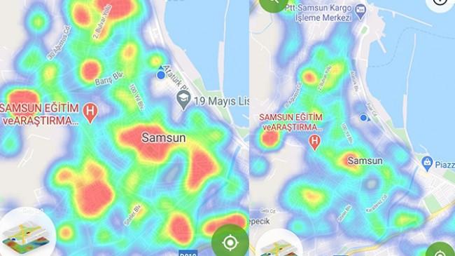 Samsun'da haritada risk artıyor