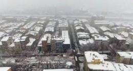 Yoğun kar yağışı havadan görüntülendi