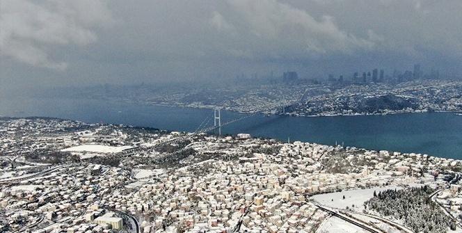 İstanbulda kar sonrası hayran bırakan manzara