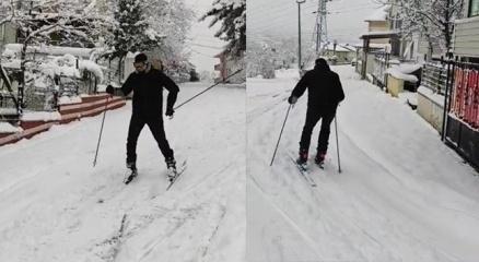 Şehir merkezini kayak pistine çevirdi
